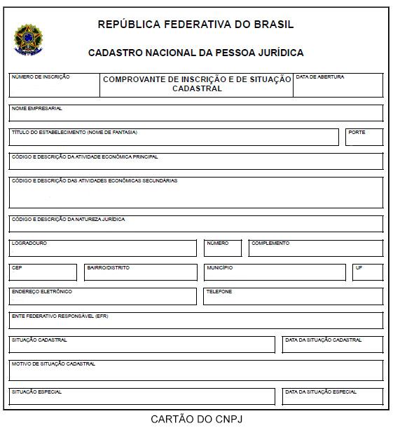 O que é CNPJ cartão do cadastro nacional de pessoas jurídicas